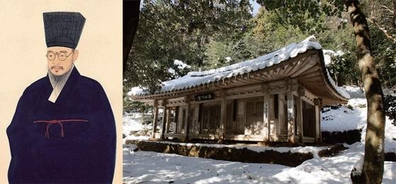 다산 정약용(왼쪽)과 그가 18년 간 유배생활을 했던 전남 강진의 다산 초당.