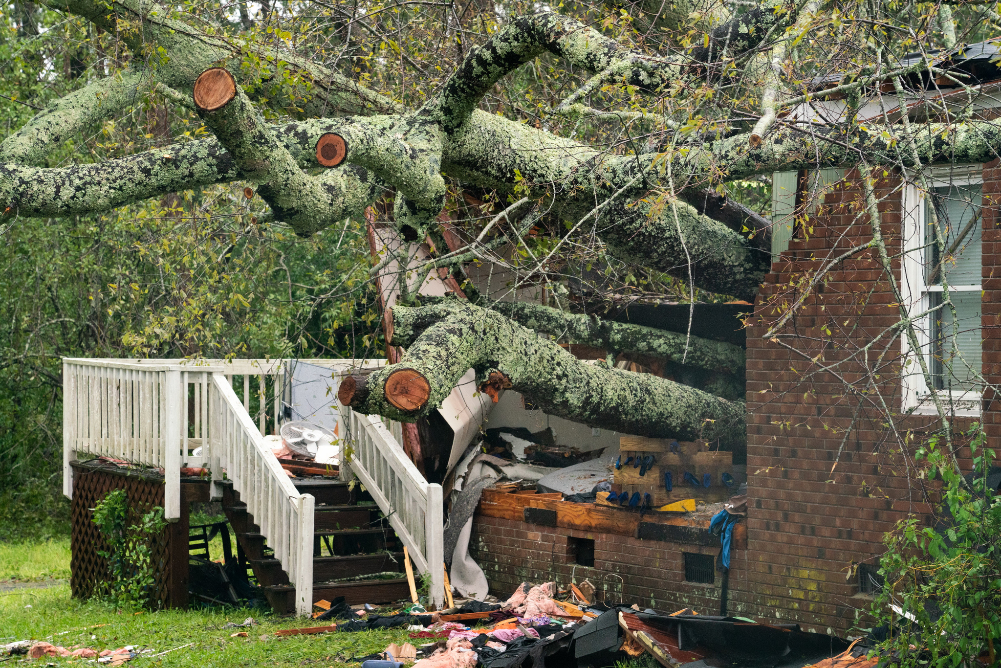 노스케롤라이나 윌밍턴에서 허리케인에 의해 쓰러진 나무가 주택을 덮쳤다. [UPI=연합뉴스]
