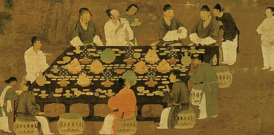 송나라 휘종(徽宗·재위 1100~1125) 시기 궁중생활과 미식문화를 사실적으로 묘사한 '문회도(文會圖)'의 일부. 왕과 귀족들의 연회 장면. [사진제공=교양인]