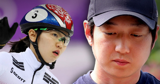 심석희 한국 여자 쇼트트랙 선수를 폭행한 혐의를 받고 있는 조재범 전 국가대표팀 코치(오른쪽). [중앙포토, 연합뉴스]