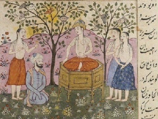 『 쿠쉬나메』의 필사본에 등장하는 삽화. 아비틴이 신라왕에게 도움을 요청하는 장면 [중앙포토]