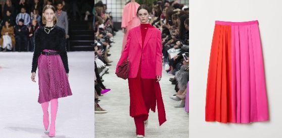 가을이라고 해서 모노톤이나 뉴트럴 컬러만 생각해선 안 된다. 올가을엔 핑크, 레드, 바이올렛 등 선명한 컬러감의 플리츠스커트가 많이 등장했다. 왼쪽부터 발렌시아가, 발렌티노 FW 컬렉션. H&M은 두 가지 색을 연결한 멀티컬러의 플리츠스커트를 선보였다. [사진 각 브랜드]