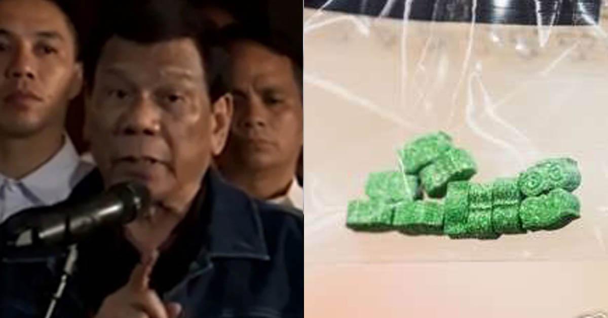 로드리고 두테르테 필리핀 대통령(왼쪽)과 2018년 6월 21일 독일 뮌헨 당국이 압수해 공개한 엑스터시 알약들. [DPA=연합뉴스]