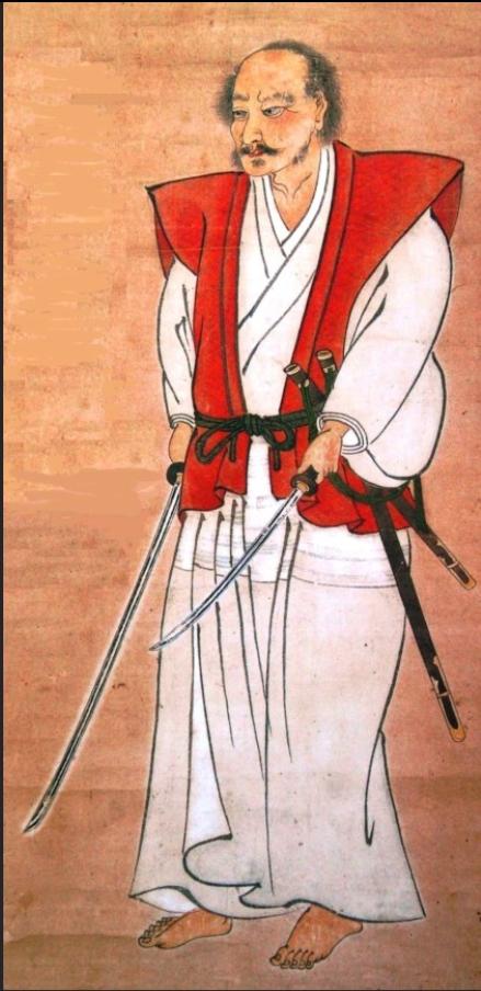 일본 최고의 검객 중 한 명으로 꼽히는 미야모토 무사시(1584~1645년) 자화상. 양손으로 길고 짧은 두 자루의 칼을 쓰는 이도류(二刀流)를 창안했다.