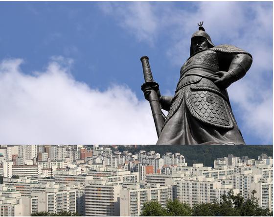 집값 과열을 잡기 위해 정부가 쓸 수 있는 무기로 '큰 칼'과 '작은 칼'이 있다. 광화문에 있는 이순신 장군 동상과 아파트.