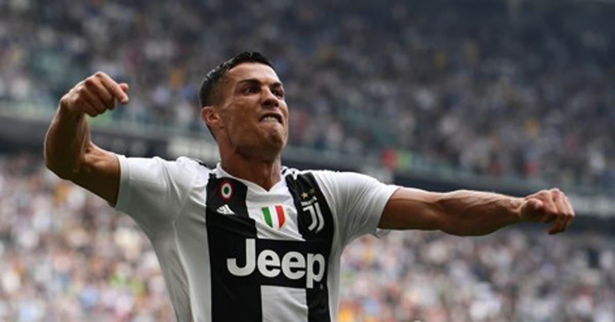 유벤투스의 크리스티아누 호날두가 이탈리아 세리에A 데뷔골을 넣고 기뻐하고 있다.[AFP=연합뉴스]