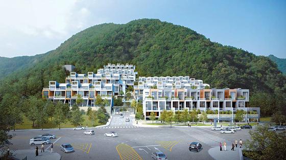 경남 양산신도시에 들어서는 복층형 테라스하우스 '양산 포레스트 M 더 테라스' 조감도.