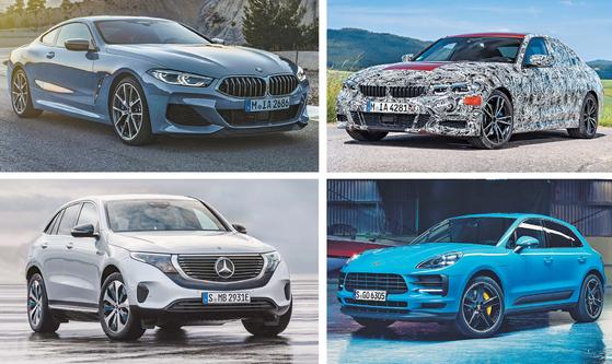 2016년 107만 명이 넘는 방문객이 찾았던 파리모터쇼는 올해도 눈길을 끄는 다양한 신차가 공개될 예정이다. 좌측 상단부터 시계 방향으로 BMW 8시리즈 쿠페, BMW 7세대 3시리즈, 포르셰 마칸 페이스리프트, 메르세데스-벤츠 EQC. [사진 각 제조사]