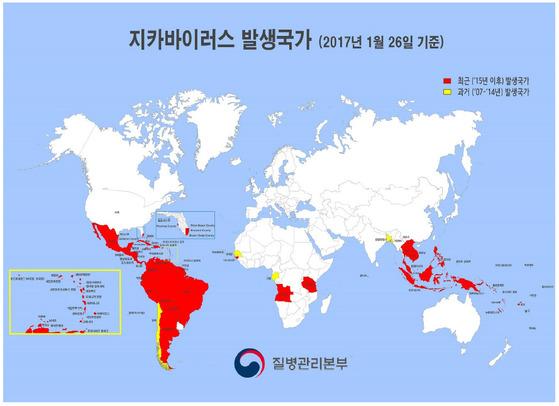 질병관리본부가 발표한 2017년 1월 26일 기준 지카바이러스 발생국가. 미국 국립과학원회보에 따르면 지카바이러스 공포로 2015년 9월~2016년 12월 사이 출산수가 11만9000여명이나 감소했다. [자료제공= 질병관리본부]