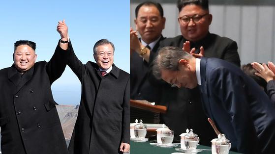 남북 정상이 20일 백두산 천지에 올라 손을 맞잡았다(왼쪽). 19일 밤 평양 5.1경기장에서 북한 주민들에게 인사하는 문 대통령.