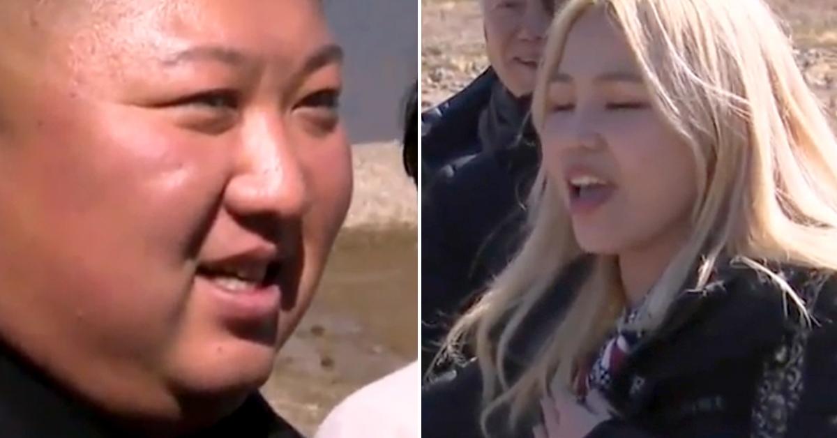 20일 남북 정상 내외와 수행원들이 백두산 천지를 찾은 가운데, 김정은 북한 국무위원장(왼쪽 사진)이 '진도아리랑'을 부르고 있는 가수 알리를 지긋이 바라보고 있다. [사진 JTBC 캡처]