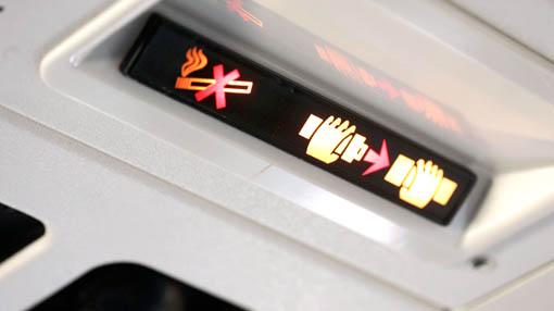 여객기에 설치된 좌석벨트 표시등.[중앙포토]