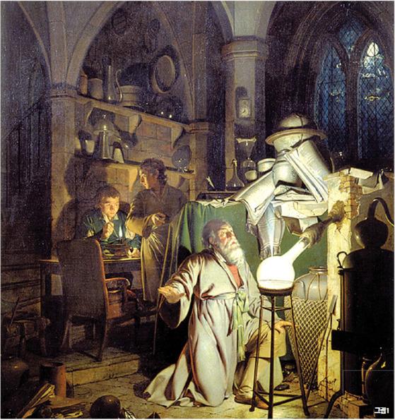 18세기 말 영국 화가 조셉 라이트(1734~1797)가 그린'현자의 돌(philosopher's stone)을 찾으려는 연금술사'. [중앙포토]