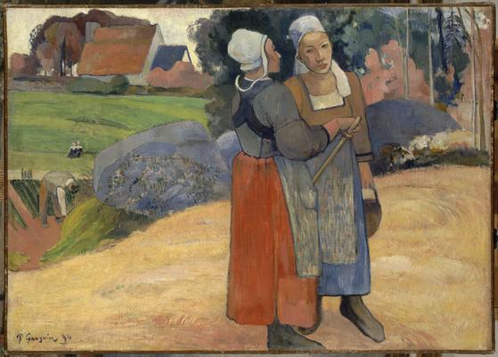 폴 고갱(1848~1903)의 '브르타뉴의 여인들'(1894). 이전 서양화에서 볼 수 없던 검은 윤곽선이 부각되고, 치마를 보면 배경과 잘 구분되는 것을 보아 폴 고갱 또한 우키요에의 영향을 받은 것으로 추정된다. [사진제공=예술의전당 ⓒRMN-Grand Palais/Musee d'Orsay - GNC media, 2016]