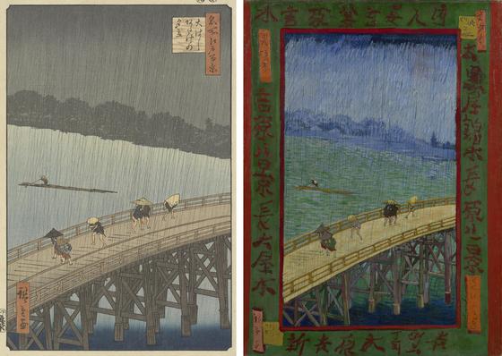 <에도대교의 소나기> 우타카와 히로시게(왼), 빈센트 반고흐의 모사 1887 (오). 우타카와 히로시게의 그림을 빈센트 반고흐가 모사했다. '자포니즘'이 서양 미술에 얼마나 큰 영향을 끼쳤는지 알 수 있는 그림이다. ⓒpublic domain [그림 반고흐 박물관(vangoghmuseum)]