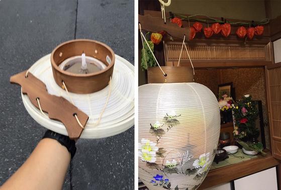 일본에서 조상의 혼을 집으로 모시는 오봉의 옛날 풍습에 이용된 제등과 제등 안의 양초와(좌), 조상의 혼이 깃든 양초를 제등에 넣어 제단에 모신 모습(우) [사진 양은심]