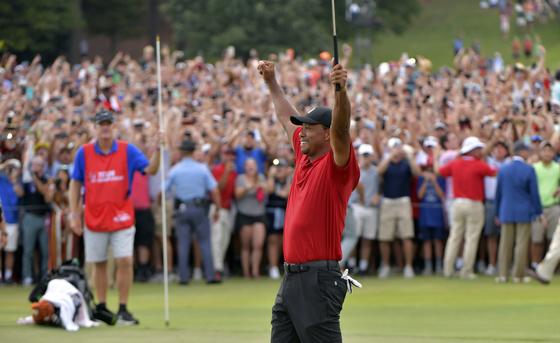 미국 조지아주 애틀랜타 이스트레이크 골프장에서 열린 PGA 투어 플레이오프 최종전 투어 챔피언십 마지막홀에서 우승을 확정지은 뒤 두 손을 번쩍 든 타이거 우즈. [AP=연합뉴스]