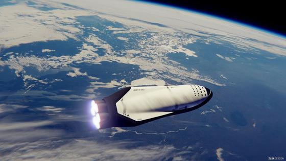 스페이스X가 달탐사에 이용하겠다고 밝힌 빅팰컨로켓(BFR)의 스페이스쉽 BFS. 스페이스X는 BFR을 이용해 화성개척도 시도할 예정이다. [사진=스페이스X]