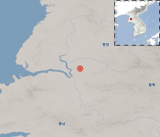 북한 황해북도 송림에서 27일 규모 2.4의 지진이 발생했다. [사진 기상청]