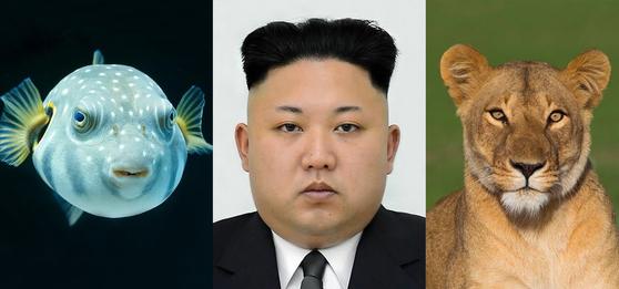 복어와 사자상을 동시에 지닌 김정은 위원장.