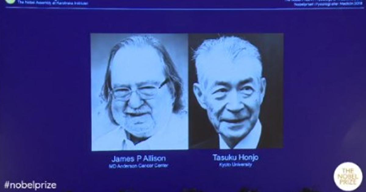 1일(현지시간) 스웨덴 카롤린스카 의대 노벨위원회는 올해 노벨 생리의학상 수상자로 제임스 P. 앨리손(왼쪽)과 혼조 다스쿠를 선정했다고 발표했다. [사진 노벨위원회]