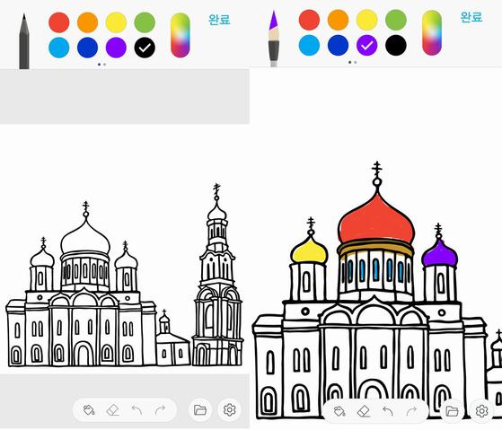 도안을 선택한 후 색상과 브러시를 선택해 컬러링을 시작한다. [사진 홍미옥]