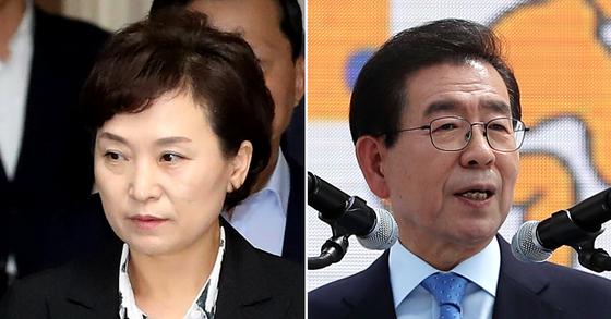 김현미 국토교통부 장관(左), 박원순 서울시장(右) [중앙포토]