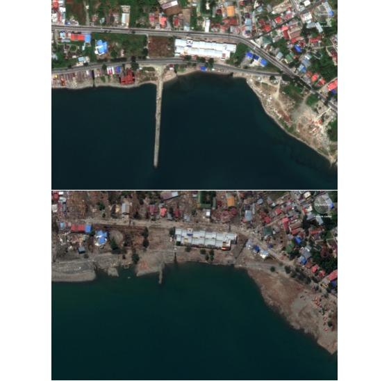 쓰나미가 덮친 팔루지역 해변의 지난 8월 17일 사진(위)와 10월 1일 모습.[AP=연합뉴스]