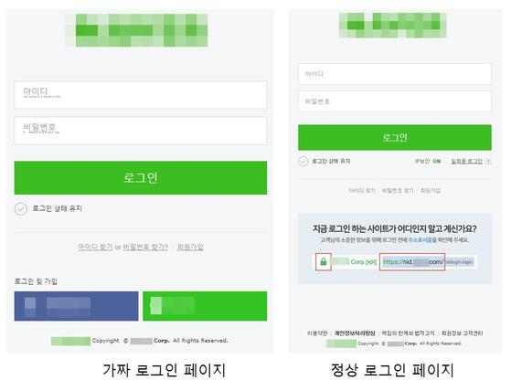 피싱 메일에서 연결된 가짜 로그인 페이지(왼쪽)과 정상 로그인 페이지 [안랩 제공=뉴스1]