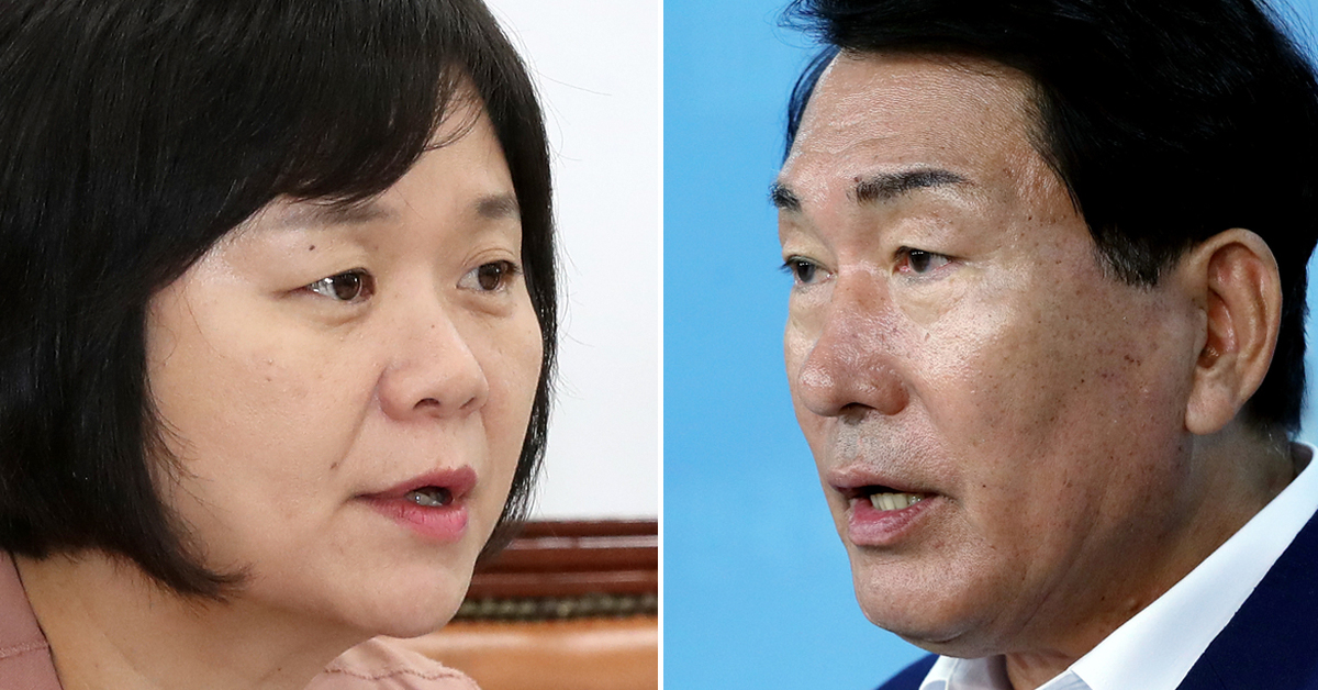 이정미 정의당 대표(左), 안상수 자유한국당 의원(右). [연합뉴스]