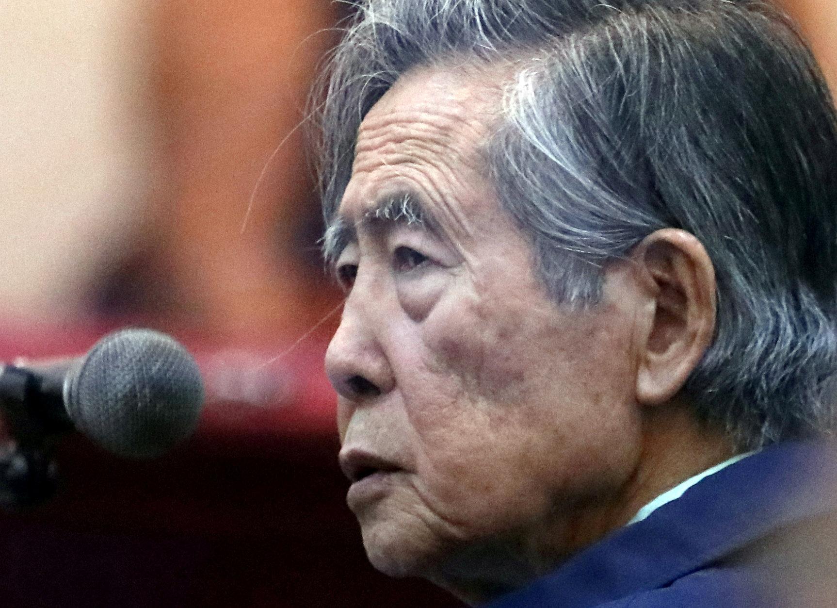 재판에 출석한 알베르토 후지모토 페루 전 대통령 [로이터=연합뉴스]