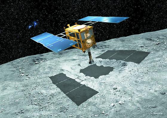 일본의 탐사선 하야부사2가 암석을 채취하기 위해 소행성 류구의 표면까지 내려오는 장면을 그린 컴퓨터 그래픽 이미지. [사진 일본우주항공연구개발기구]