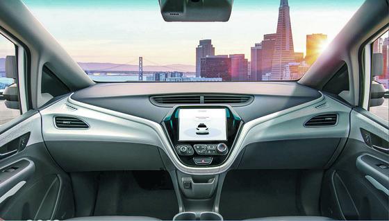 General Motors (GM) 제너럴 모터스가 개발한 자율주행차량 내부 모습. 핸들이 없다. [사진 GM홈페이지]