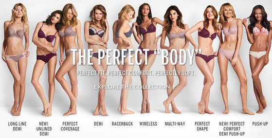 2014년 9월, '완벽한 몸매'라는 슬로건을 내세운 빅토리아 시크릿의 광고 캠페인. 이를 본 여성들이 SNS에서 '나는 완벽해'(#iamperfect)라는 해시태그를 단 글과 자기 사진을 올리며 반감을 드러내기도 했다. [사진 빅토리아 시크릿]