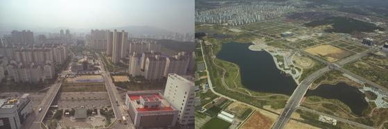 1996~97년 1기 신도시 개발이 끝나갈 무렵 분당(왼쪽)과 일산 전경. 서울에서 가장 많이 옮겨간 신도시가 분당이었다.