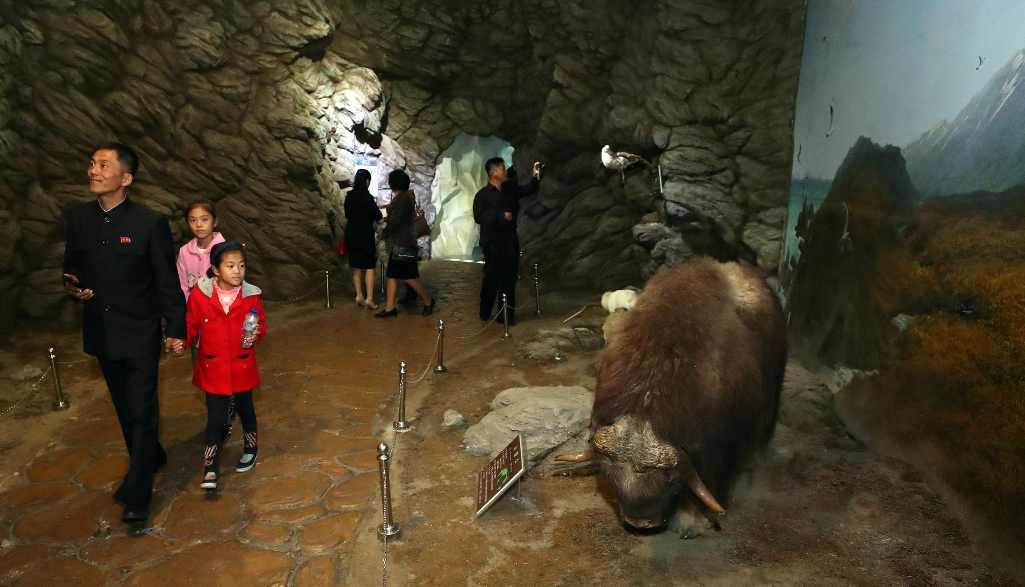 관람객들이 지난 6일 평양 중앙동물원에서 전시물을 살펴보며 즐거운 시간을 보내고 있다. 평양사진공동취재단