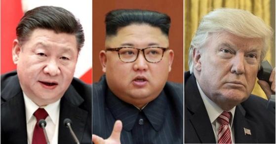 김정은 북한 국무위원장(가운데)이 지난 6월 19일 3차 방중을 통해 시진핑 중국 국가주석과 도널드 트럼프 대통령의 무역전쟁 국면을 활용해 제재 완화와 경제 원조를 노린다는 분석이 나온다.[연합뉴스]