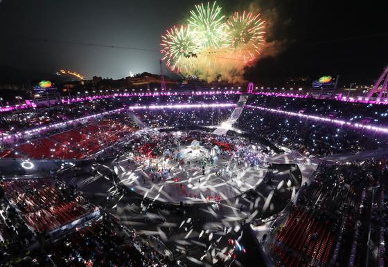 600억원대 흑자로 막을 내린 평창올림픽의 폐회식 장면. [연합뉴스]