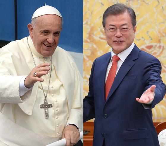 """프란치스코 교황과 문재인 대통령이 오는 18일 바티칸에서 직접 얼굴을 맞댄다.   그렉 버크 교황청 대변인은 9일 성명을 내고 """"프란치스코 교황이 오는 18일 정오에 문재인 대통령과 교황청에서 개별 면담을 할 예정""""이라고 발표했다. [연합뉴스]"""