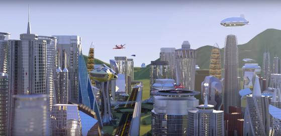 디센트럴랜드가 목표로 하는 미래의 가상 부동산 이미지. 3D 형태로 구현돼 있으며, 높은 빌딩과 철도 등이 만들어져 있다. 사용자들은 현실 세계와 똑같이 철도 등을 통해 이동하고, 빌딩 등 여러 공간 안에서 체험을 할 수 있게 된다. [자료 : 디센트럴랜드]