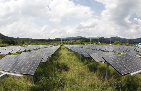 경북 영천시 임고면의 한 태양광 발전소. 2008년 화석연료 사용량 감소를 비롯해 자연환경보호와 온실가스 감축 효과를 내세우며 6326㎡(1916평) 규모로 설치됐다. 영천=프리랜서 공정식