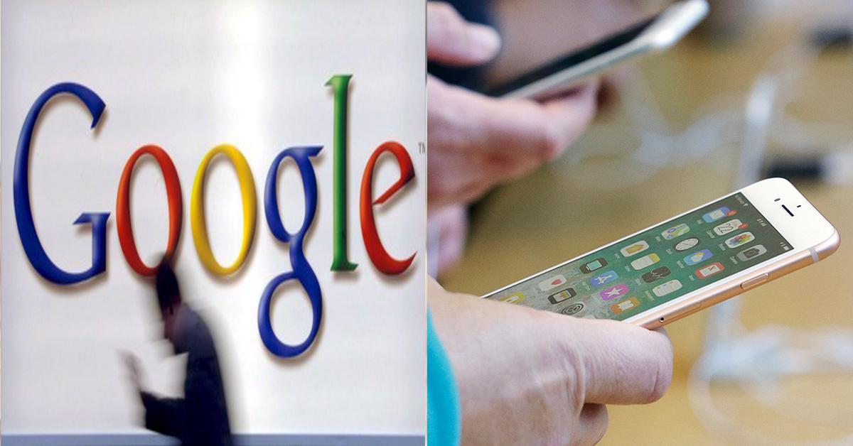 구글 로고(왼쪽)과 아이폰 사용 이미지(오른쪽, 기사 내용과 관계 없음) [EPA, AP=연합뉴스]