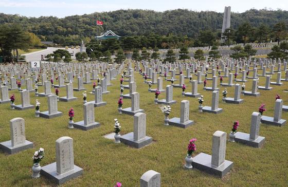 4일 오후 서울 국립현충원. [연합뉴스]