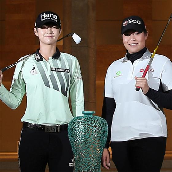 박성현(左), 아리야 주타누간(右). [LPGA KEB하나은행챔피언십 대회본부]