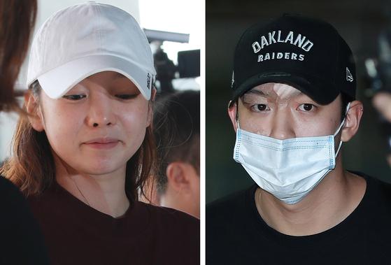 가수 구하라씨와 그의 전 남자친구인 최종범씨가 지난달 17일 강남경찰서에 출석한 당시의 모습. [일간스포츠]
