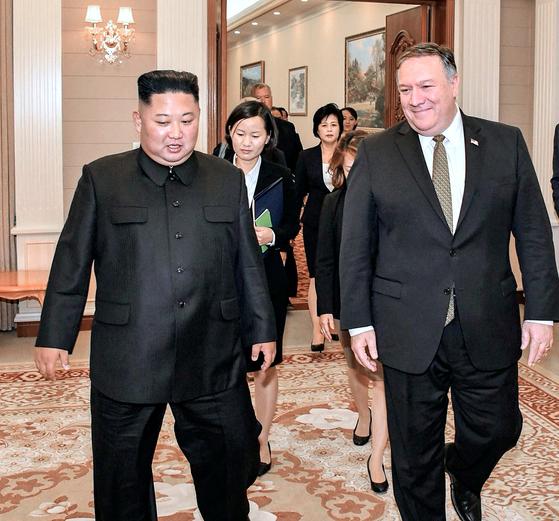 폼페이오 김정은 북한 국무위원장 만남. 2018.10.7 [사진 폼페이오 장관 트위터]