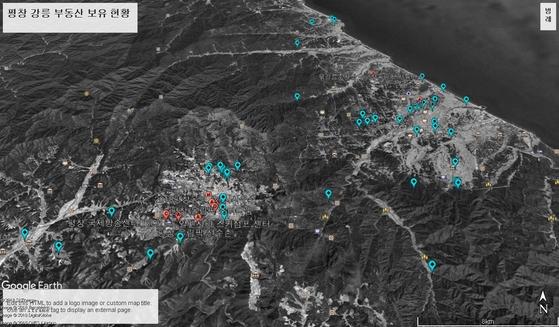 올림픽 경기장 주변 부동산 보유 현황을 구글 어스에 매핑했습니다. 빨간 표시는 올림픽 관련 시설, 하늘색 표시는 공직자들이 보유한 부동산 위치입니다. 이미지를 클릭하시면 인터랙티브 차트로 넘어갑니다. 링크 연결이 안 되면 주소창에 입력하세요. https://goo.gl/ea7jbY