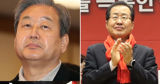 김무성 자유한국당 의원과 홍준표 전 대표 [중앙포토]