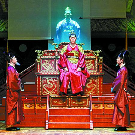 국립중앙박물관 극장 용에서 12월 2일까지 공연하는 창작 뮤지컬 '1446'의 한 장면. 세종의 인간적인 고뇌에 초점을 맞춘 작품이다. [사진 HJ컬처]