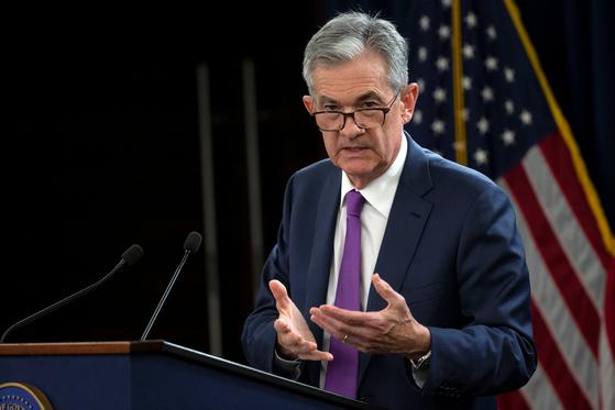 제롬 파월 미 연방준비제도(Fed) 의장이 강하게 시사한 정책금리 인상이 결국 미국 증시에도 독이 됐다. [로이터=연합뉴스]